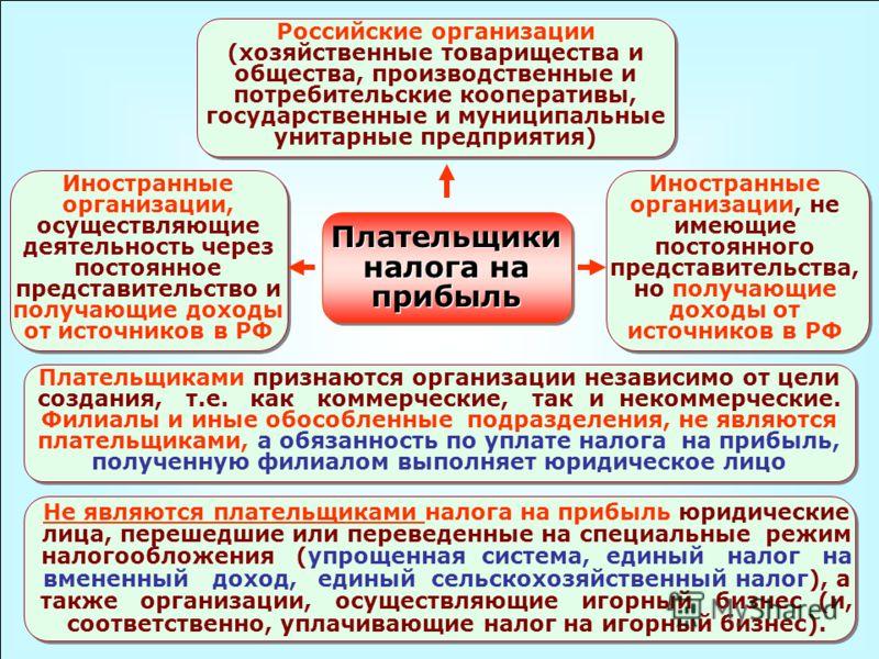 Российские организации (хозяйственные товарищества и общества, производственные и потребительские кооперативы, государственные и муниципальные унитарные предприятия) Иностранные организации, осуществляющие деятельность через постоянное представительс