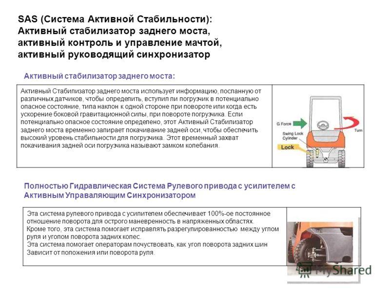 SAS (Система Активной Стабильности): Активный стабилизатор заднего моста, активный контроль и управление мачтой, активный руководящий синхронизатор Активный стабилизатор заднего моста: Активный Стабилизатор заднего моста использует информацию, послан