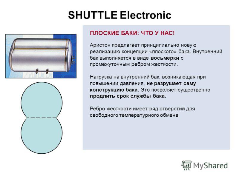 SHUTTLE Electronic ПЛОСКИЕ БАКИ: ЧТО У НАС! Аристон предлагает принципиально новую реализацию концепции «плоского» бака. Внутренний бак выполняется в виде восьмерки с промежуточным ребром жесткости. Нагрузка на внутренний бак, возникающая при повышен
