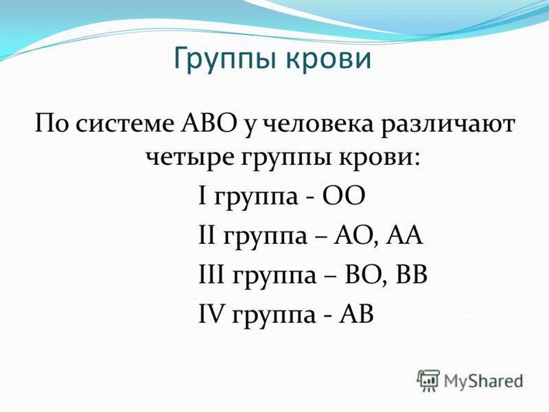 Группы крови По системе АВО у человека различают четыре группы крови: I группа - ОО II группа – АО, АА III группа – ВО, ВВ IV группа - АВ