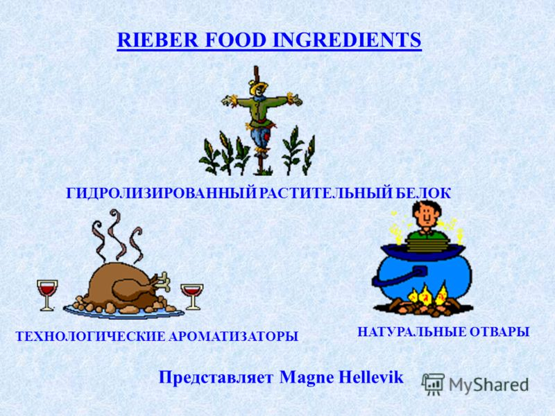 RIEBER FOOD INGREDIENTS ГИДРОЛИЗИРОВАННЫЙ РАСТИТЕЛЬНЫЙ БЕЛОК ТЕХНОЛОГИЧЕСКИЕ АРОМАТИЗАТОРЫ НАТУРАЛЬНЫЕ ОТВАРЫ Представляет Magne Hellevik