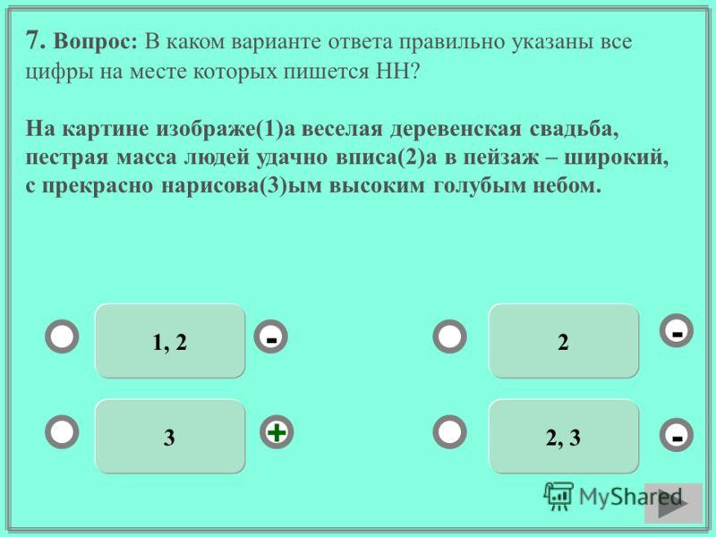 7. Вопрос: В каком варианте ответа правильно указаны все цифры на месте которых пишется НН? На картине изображе(1)а веселая деревенская свадьба, пестрая масса людей удачно вписа(2)а в пейзаж – широкий, с прекрасно нарисова(3)ым высоким голубым небом.