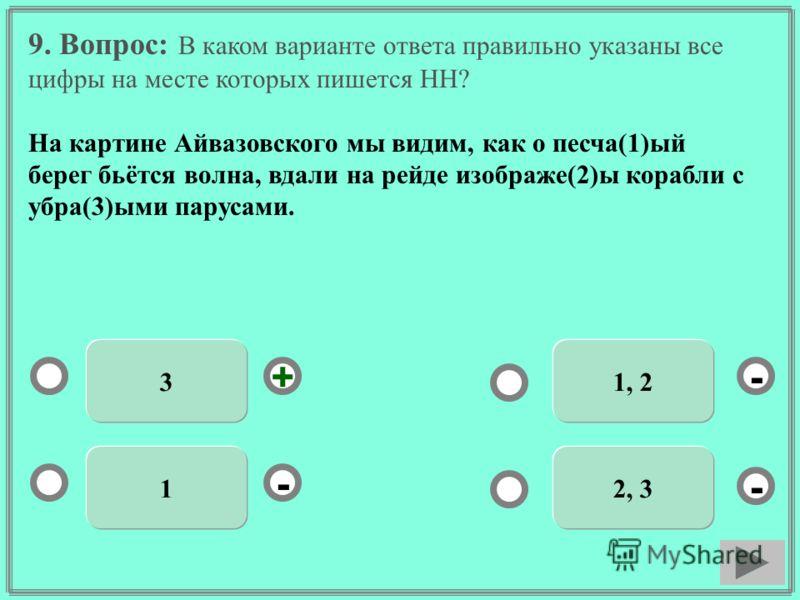 9. Вопрос: В каком варианте ответа правильно указаны все цифры на месте которых пишется НН? На картине Айвазовского мы видим, как о песча(1)ый берег бьётся волна, вдали на рейде изображе(2)ы корабли с убра(3)ыми парусами. 3 1 1, 2 2, 3 - - + -