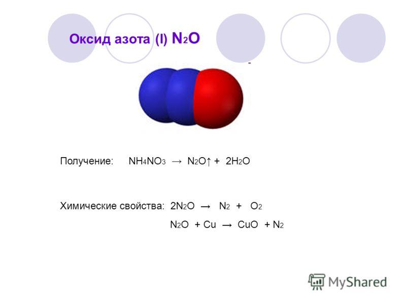 Оксид азота (I) N 2 O Получение: NH 4 NO 3 N 2 O + 2H 2 O Химические свойства: 2N 2 O N 2 + O 2 N 2 O + Cu CuO + N 2
