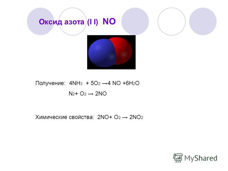 Оксид азота (I I) NO Получение: 4NH 3 + 5O 2 4 NO +6H 2 O N 2 + O 2 2NO Химические свойства: 2NО+ O 2 2NO 2