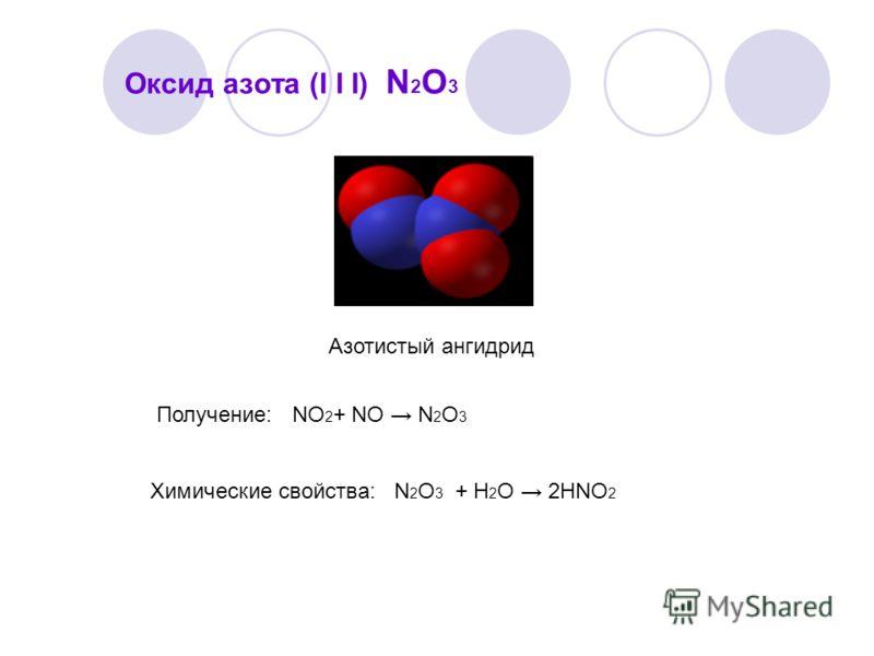 Оксид азота (I I I) N 2 O 3 Азотистый ангидрид Получение: NО 2 + NO N 2 O 3 Химические свойства: N 2 O 3 + Н 2 О 2НNО 2