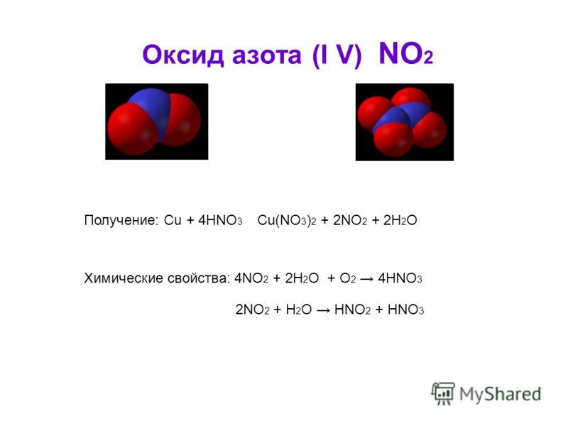 Оксид азота (I V) NO 2 Получение: Cu + 4HNO 3 Cu(NO 3 ) 2 + 2NO 2 + 2H 2 O Химические свойства: 4NO 2 + 2H 2 O + О 2 4HNO 3 2NO 2 + H 2 O HNO 2 + HNO 3