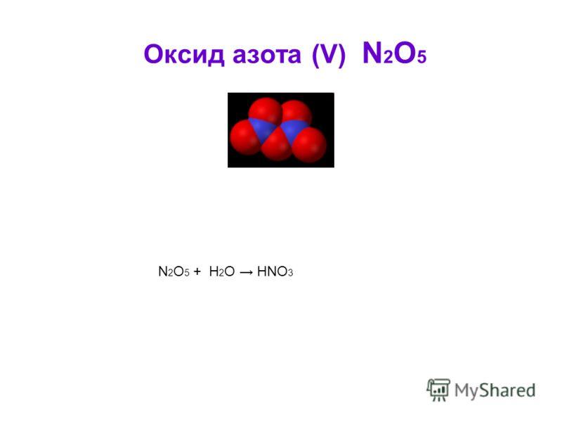Оксид азота (V) N 2 O 5 N 2 O 5 + H 2 O HNO 3