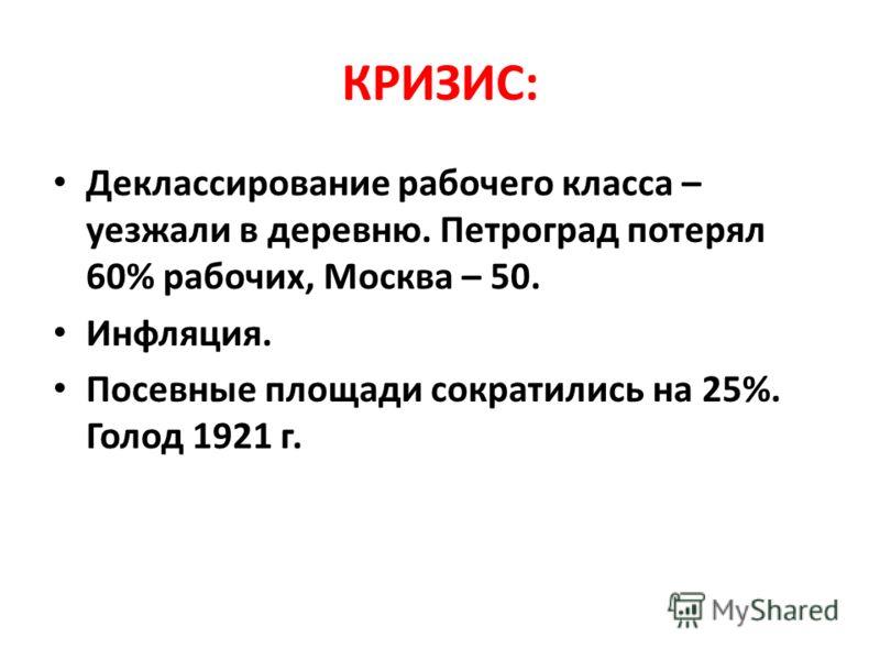КРИЗИС: Деклассирование рабочего класса – уезжали в деревню. Петроград потерял 60% рабочих, Москва – 50. Инфляция. Посевные площади сократились на 25%. Голод 1921 г.