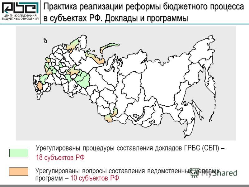 Практика реализации реформы бюджетного процесса в субъектах РФ. Доклады и программы Урегулированы процедуры составления докладов ГРБС (СБП) – 18 субъектов РФ Урегулированы вопросы составления ведомственных целевых программ – 10 субъектов РФ