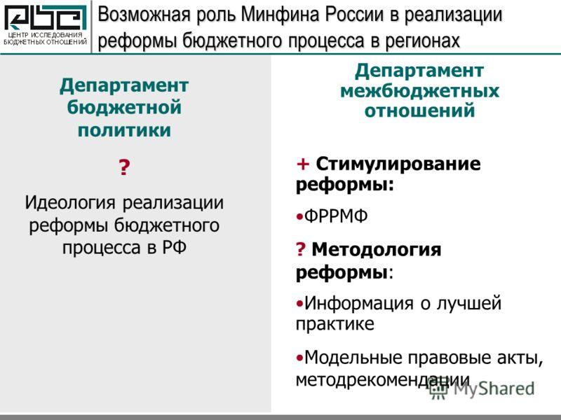 Возможная роль Минфина России в реализации реформы бюджетного процесса в регионах Департамент бюджетной политики ? Идеология реализации реформы бюджетного процесса в РФ Департамент межбюджетных отношений + Стимулирование реформы: ФРРМФ ? Методология