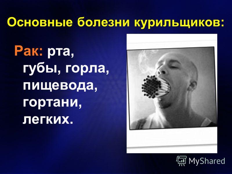Основные болезни курильщиков: Рак: рта, губы, горла, пищевода, гортани, легких.