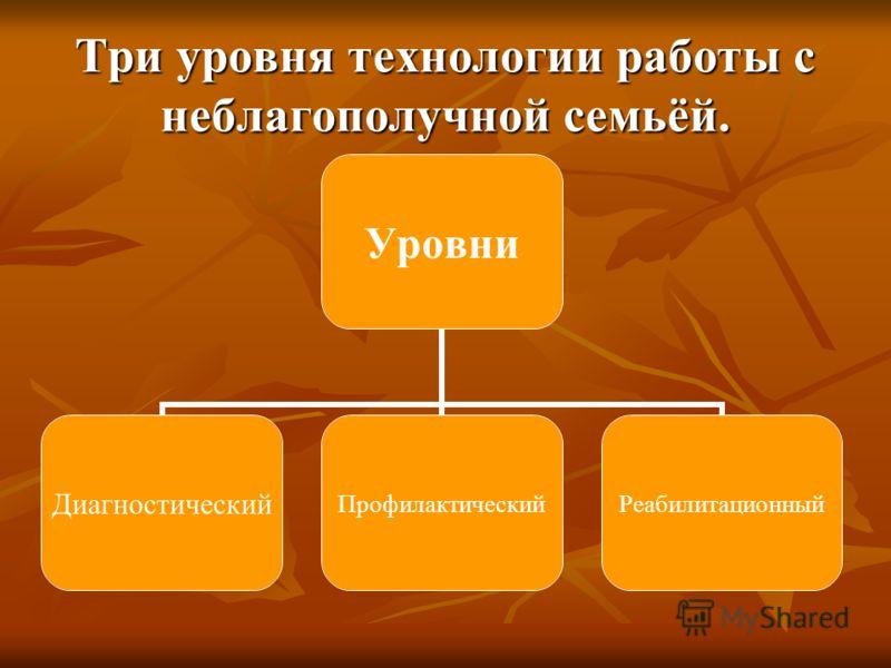 Три уровня технологии работы с неблагополучной семьёй. Уровни ДиагностическийПрофилактическийРеабилитационный
