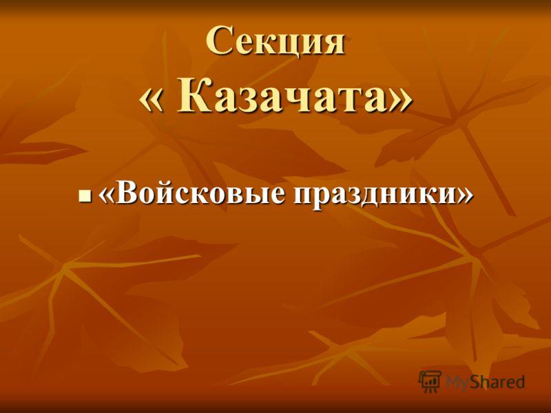 Секция « Казачата» «Войсковые праздники»