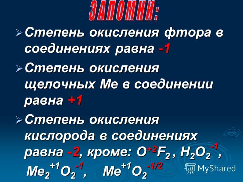 Степень окисления изолированных атомов равна 0 Степень окисления изолированных атомов равна 0 Степень окисления простых веществ равна 0 Степень окисления простых веществ равна 0 Степень окисления водорода равна +1, кроме МеН n -1 Степень окисления во