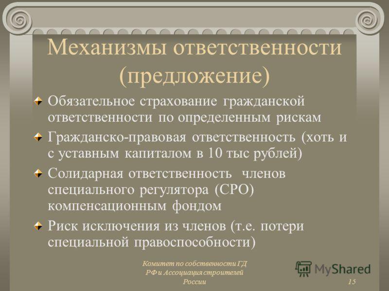 Комитет по собственности ГД РФ и Ассоциация строителей России15 Механизмы ответственности (предложение) Обязательное страхование гражданской ответственности по определенным рискам Гражданско-правовая ответственность (хоть и с уставным капиталом в 10