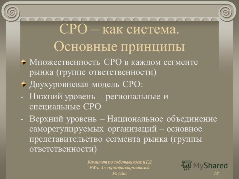 Комитет по собственности ГД РФ и Ассоциация строителей России18 СРО – как система. Основные принципы Множественность СРО в каждом сегменте рынка (группе ответственности) Двухуровневая модель СРО: - Нижний уровень – региональные и специальные СРО - Ве