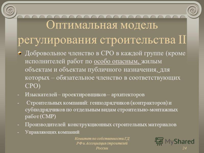 Комитет по собственности ГД РФ и Ассоциация строителей России24 Оптимальная модель регулирования строительства II Добровольное членство в СРО в каждой группе (кроме исполнителей работ по особо опасным, жилым объектам и объектам публичного назначения,