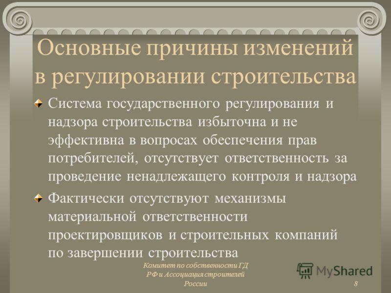 Комитет по собственности ГД РФ и Ассоциация строителей России8 Основные причины изменений в регулировании строительства Система государственного регулирования и надзора строительства избыточна и не эффективна в вопросах обеспечения прав потребителей,