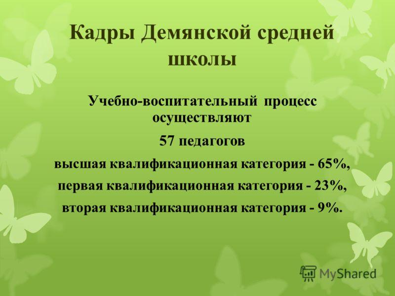 Кадры Демянской средней школы Учебно-воспитательный процесс осуществляют 57 педагогов высшая квалификационная категория - 65%, первая квалификационная категория - 23%, вторая квалификационная категория - 9%.