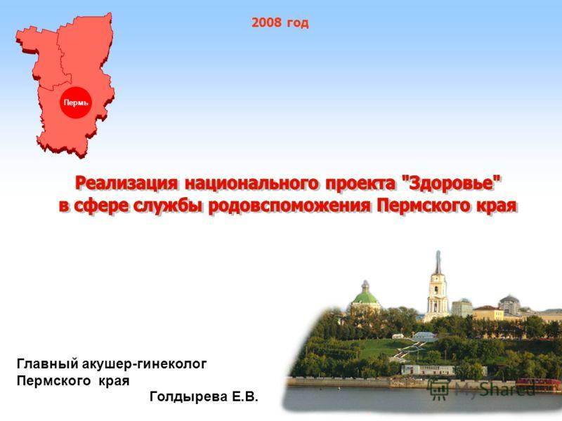 Главный акушер-гинеколог Пермского края Голдырева Е.В. Пермь 2008 год