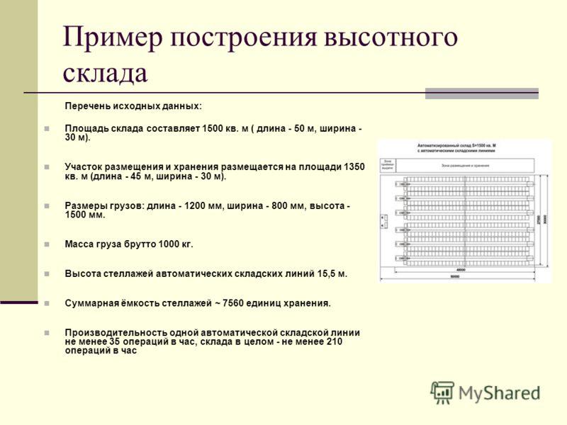 Пример построения высотного склада Перечень исходных данных: Площадь склада составляет 1500 кв. м ( длина - 50 м, ширина - 30 м). Участок размещения и хранения размещается на площади 1350 кв. м (длина - 45 м, ширина - 30 м). Размеры грузов: длина - 1