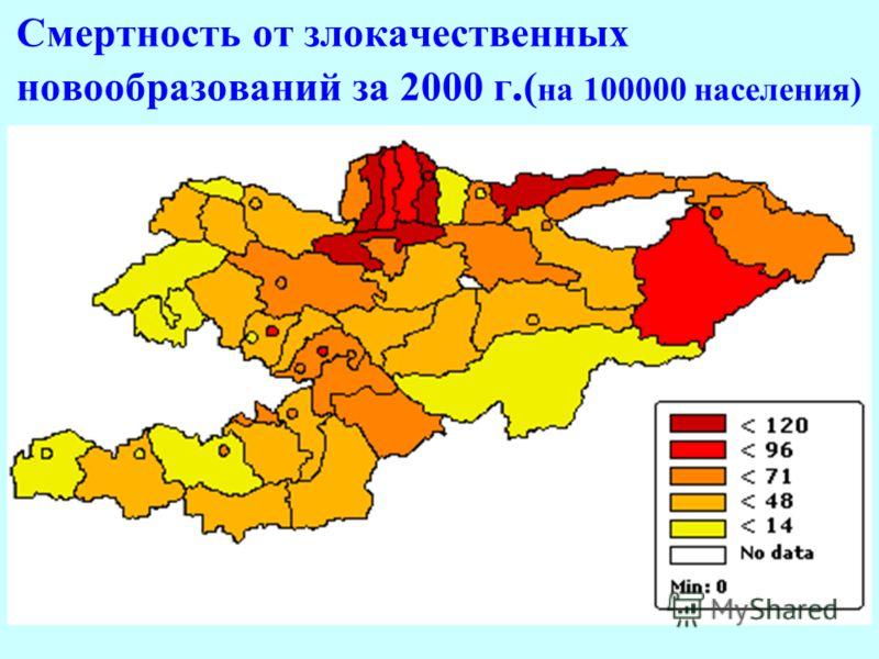 Смертность от злокачественных новообразований за 2000 г. ( на 100000 населения)