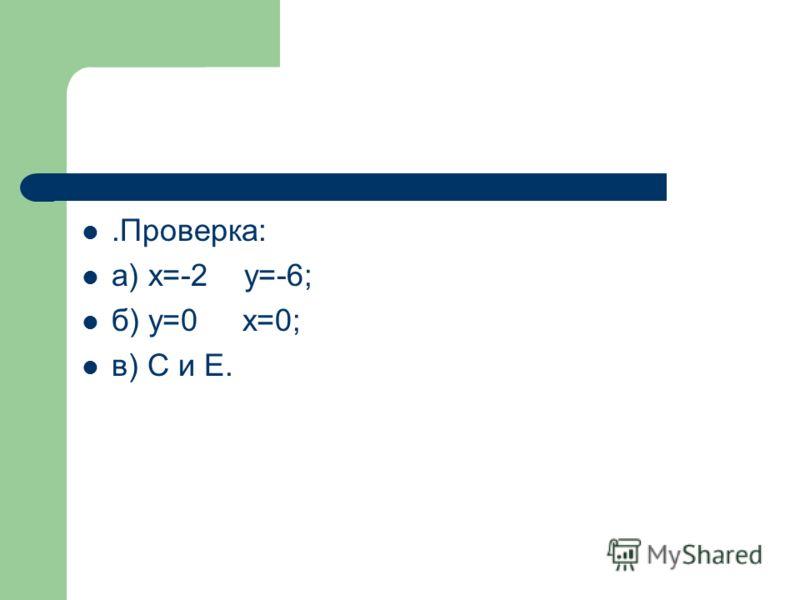 .Проверка: а) х=-2 у=-6; б) у=0 х=0; в) С и Е.