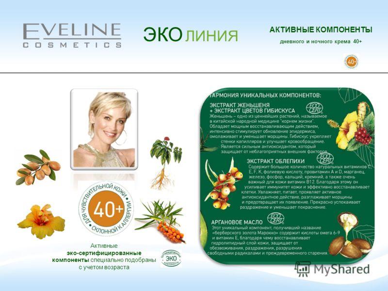 ЭКО ЛИНИЯ АКТИВНЫЕ КОМПОНЕНТЫ дневного и ночного крема 40+ Активные эко-сертифицированные компоненты специально подобраны с учетом возраста