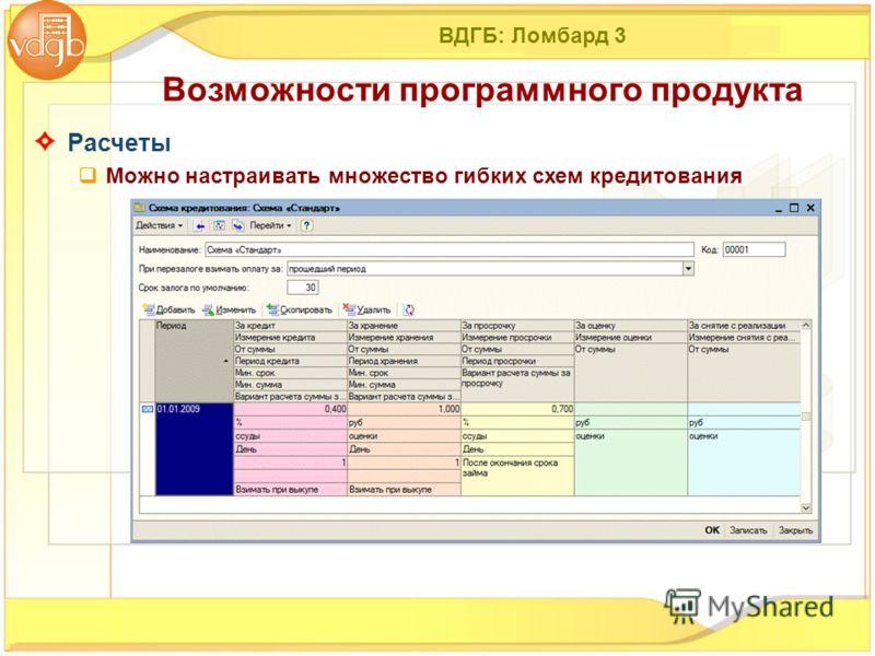 ВДГБ: Ломбард 3 Расчеты Можно настраивать множество гибких схем кредитования Возможности программного продукта