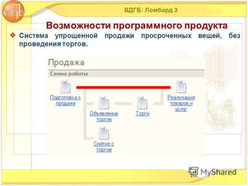 ВДГБ: Ломбард 3 Система упрощенной продажи просроченных вещей, без проведения торгов. Возможности программного продукта