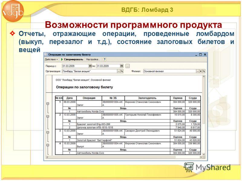 ВДГБ: Ломбард 3 Отчеты, отражающие операции, проведенные ломбардом (выкуп, перезалог и т.д.), состояние залоговых билетов и вещей Возможности программного продукта