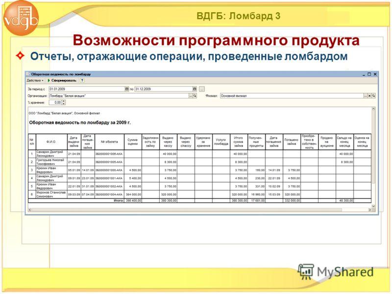 ВДГБ: Ломбард 3 Отчеты, отражающие операции, проведенные ломбардом Возможности программного продукта