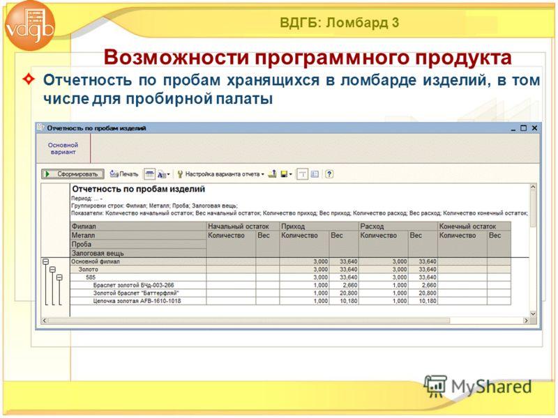 ВДГБ: Ломбард 3 Отчетность по пробам хранящихся в ломбарде изделий, в том числе для пробирной палаты Возможности программного продукта