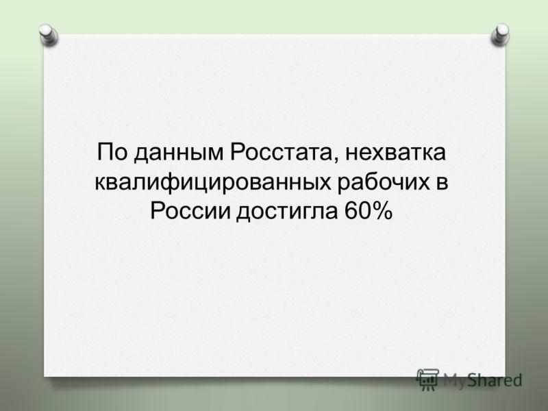 По данным Росстата, нехватка квалифицированных рабочих в России достигла 60%