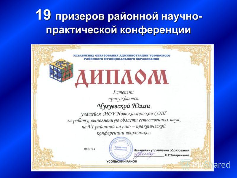 19 призеров районной научно- практической конференции