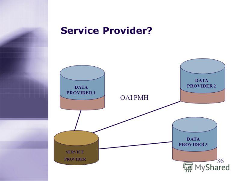 Service Provider? 36 DATA PROVIDER 2 DATA PROVIDER 1 SERVICE PROVIDER DATA PROVIDER 3 OAI PMH
