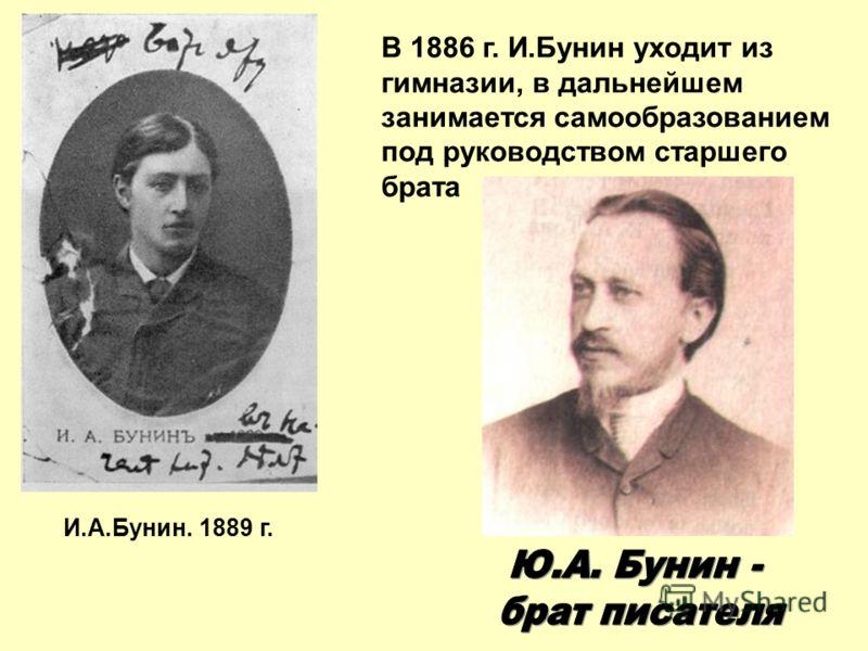 И.А.Бунин. 1889 г. В 1886 г. И.Бунин уходит из гимназии, в дальнейшем занимается самообразованием под руководством старшего брата