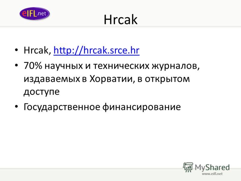 Hrcak Hrcak, http://hrcak.srce.hrhttp://hrcak.srce.hr 70% научных и технических журналов, издаваемых в Хорватии, в открытом доступе Государственное финансирование