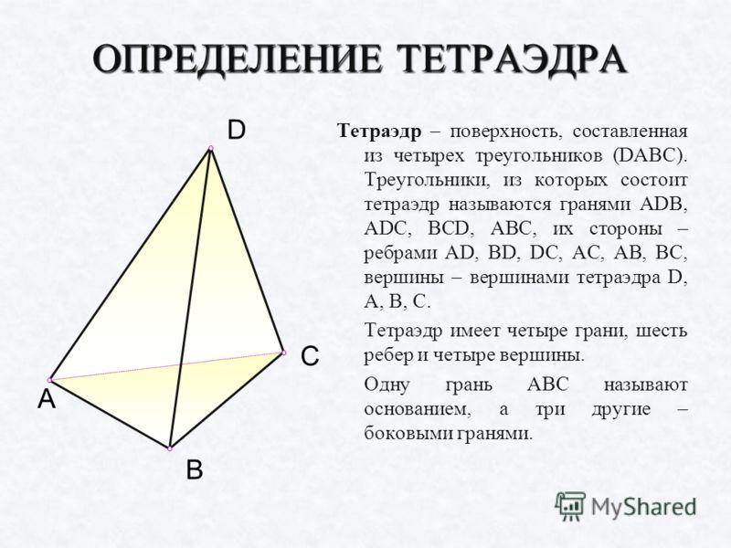 ОПРЕДЕЛЕНИЕ ТЕТРАЭДРА Тетраэдр – поверхность, составленная из четырех треугольников (DABC). Треугольники, из которых состоит тетраэдр называются гранями ADB, ADC, BCD, ABC, их стороны – ребрами AD, BD, DC, AC, AB, BC, вершины – вершинами тетраэдра D,