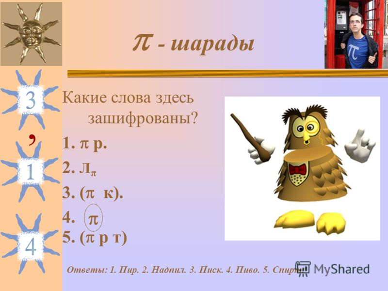 - шарады Какие слова здесь зашифрованы? 1. р. 2. Л π 3. ( к). 4. 5. ( р т), Ответы: 1. Пир. 2. Надпил. 3. Писк. 4. Пиво. 5. Спирт.