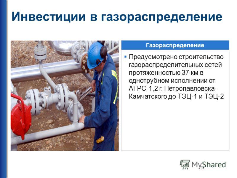 35 Инвестиции в газораспределение Газораспределение Предусмотрено строительство газораспределительных сетей протяженностью 37 км в однотрубном исполнении от АГРС-1,2 г. Петропавловска- Камчатского до ТЭЦ-1 и ТЭЦ-2