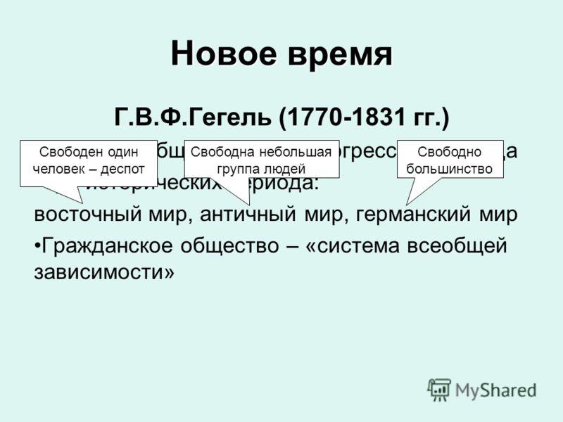 Новое время Г.В.Ф.Гегель (1770-1831 гг.) Критерий общественного прогресса – свобода Три исторических периода: восточный мир, античный мир, германский мир Гражданское общество – «система всеобщей зависимости» Свободен один человек – деспот Свободна не