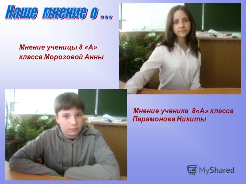 Мнение ученицы 8 «А» класса Морозовой Анны Мнение ученика 8«А» класса Парамонова Никиты