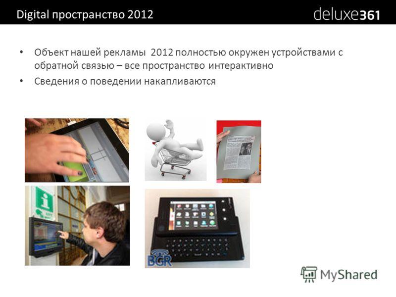 Digital пространство 2012 Объект нашей рекламы 2012 полностью окружен устройствами с обратной связью – все пространство интерактивно Сведения о поведении накапливаются