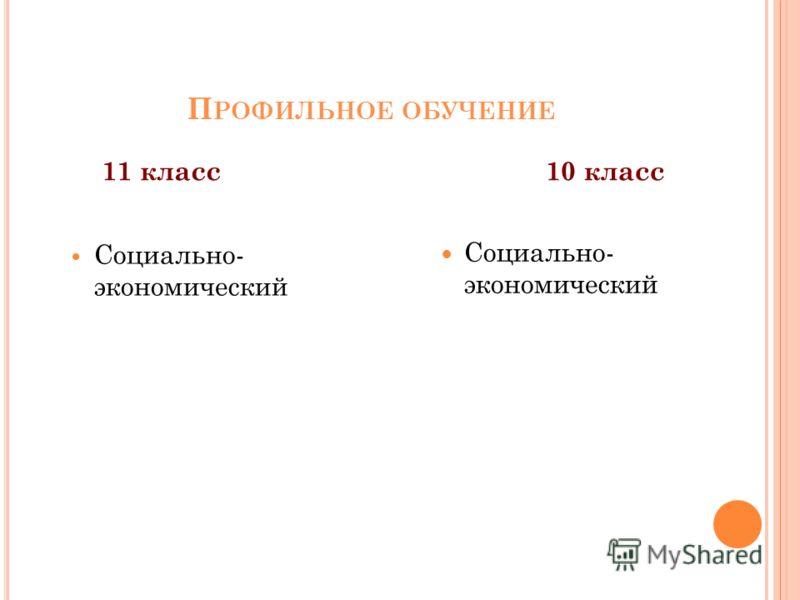 П РОФИЛЬНОЕ ОБУЧЕНИЕ 11 класс Социально- экономический 10 класс Социально- экономический