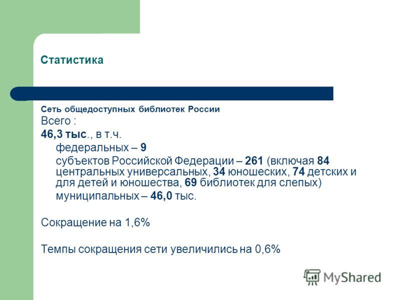 Статистика Сеть общедоступных библиотек России Всего : 46,3 тыс., в т.ч. федеральных – 9 субъектов Российской Федерации – 261 (включая 84 центральных универсальных, 34 юношеских, 74 детских и для детей и юношества, 69 библиотек для слепых) муниципаль