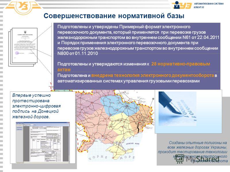 Созданы опытные полигоны на всех железных дорогах Украины, проходит тестирование технологии междорожного электронного документооборота Совершенствование нормативной базы Подготовлены и утверждаются изменения к 28 нормативно-правовым актам Подготовлен