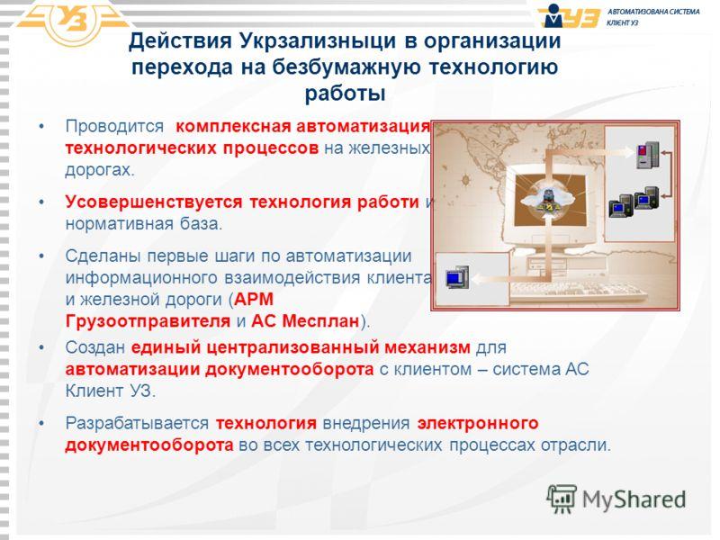 Действия Укрзализныци в организации перехода на безбумажную технологию работы Проводится комплексная автоматизация технологических процессов на железных дорогах. Усовершенствуется технология работи и нормативная база. Сделаны первые шаги по автоматиз