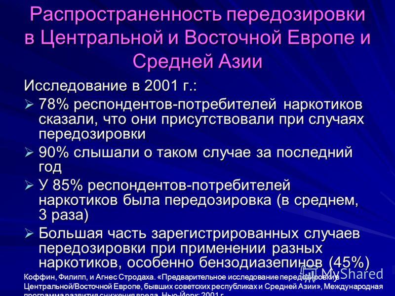 Распространенность передозировки в Центральной и Восточной Европе и Средней Азии Исследование в 2001 г.: 78% респондентов-потребителей наркотиков сказали, что они присутствовали при случаях передозировки 78% респондентов-потребителей наркотиков сказа